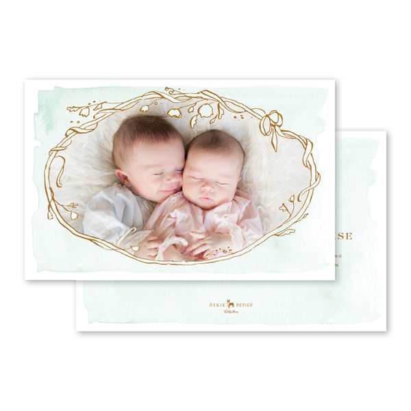 Copper Wreath Twins Birth Announcement