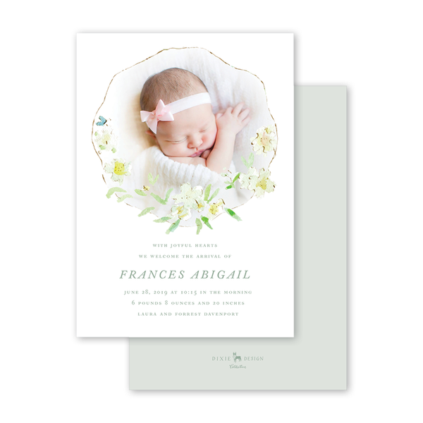 Hydrangea Birth Announcement