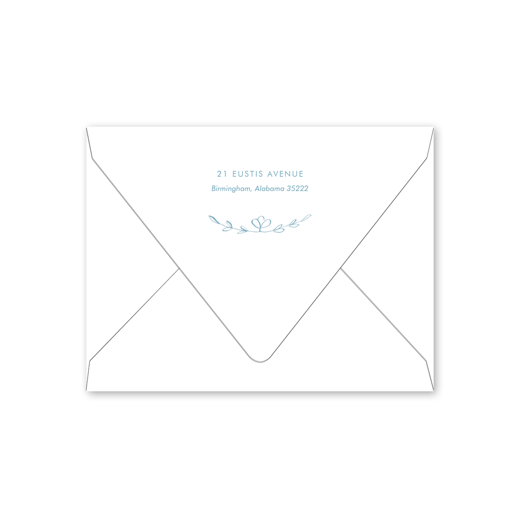 Scandinavian Heart Blue Baby Shower Envelopes