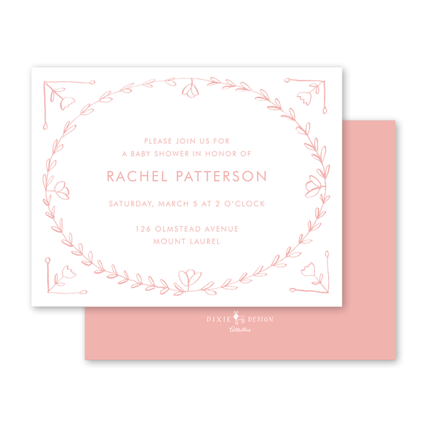 Scandinavian Heart Pink Baby Shower