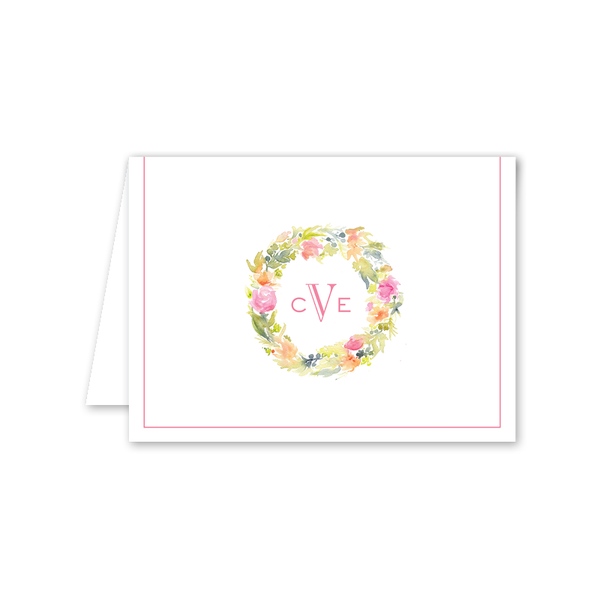Floral Watercolor Wreath Folded Notecard