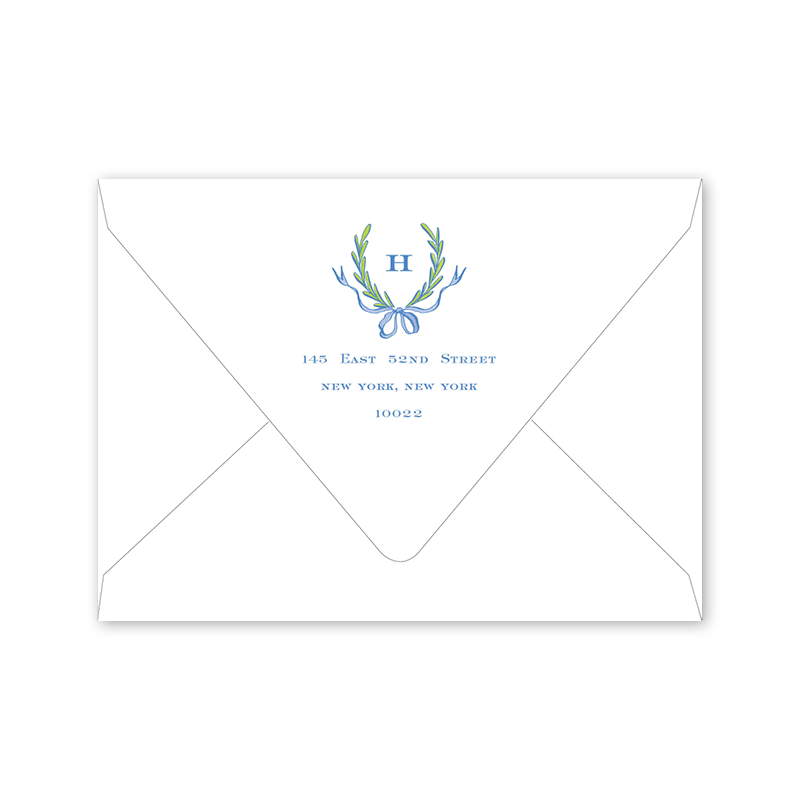ribbons and garland blue baby shower envelopes