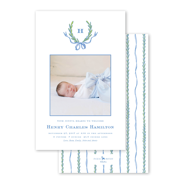 Ribbons and Garland Blue Birth Announcement