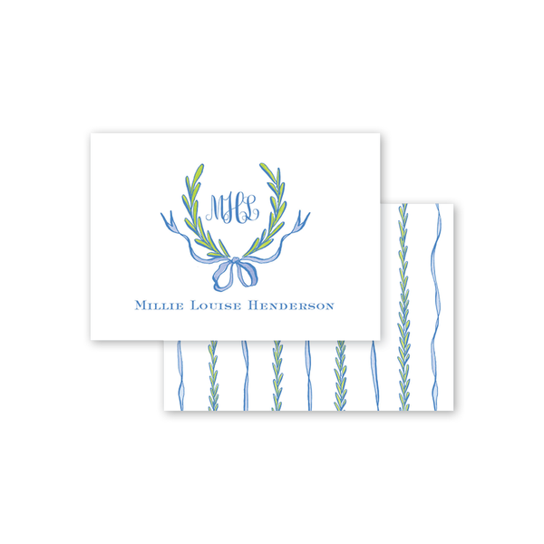 Ribbons and Garland Blue Calling Card