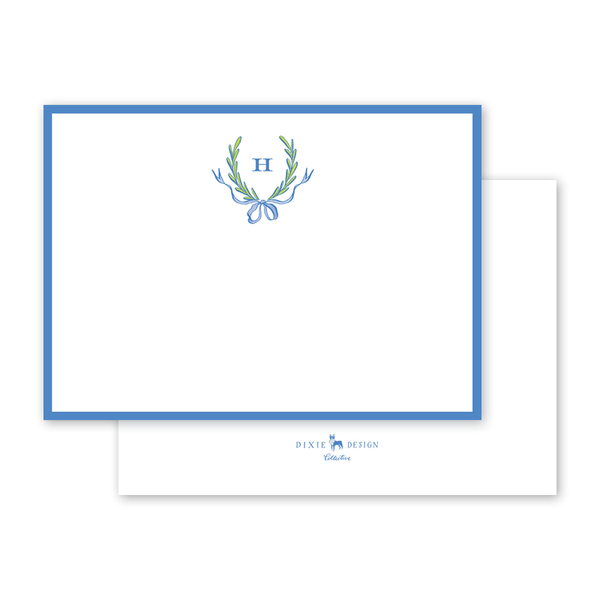 Ribbons and Garland Blue Notecard