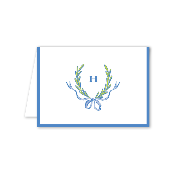Ribbons and Garland Blue Folded Notecard