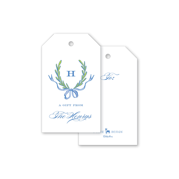 Ribbons and Garland Blue Gift Tags