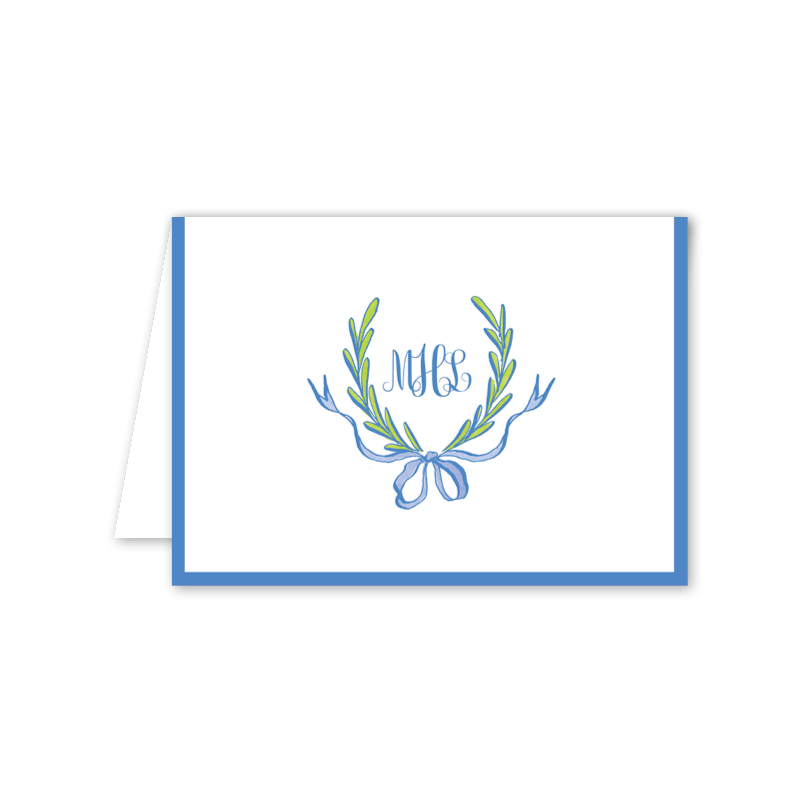 Ribbons and Garland Blue Script Folded Notecard