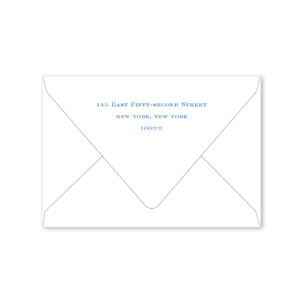 Ribbons and Garland Blue Script Folded Notecard Envelopes
