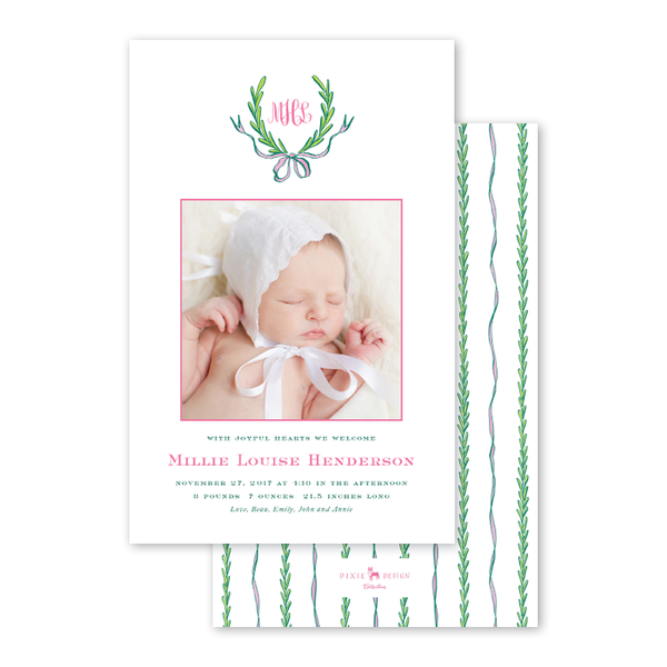 Ribbons and Garland Pink Birth Announcement
