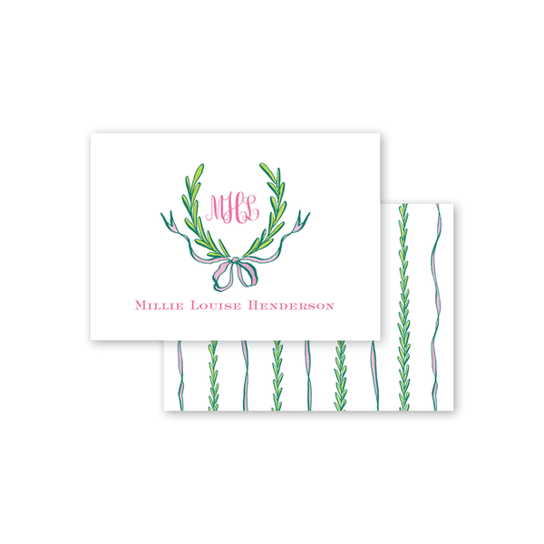 Ribbons and Garland Pink Calling Card