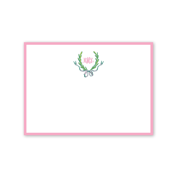 Ribbons and Garland Pink Notecard
