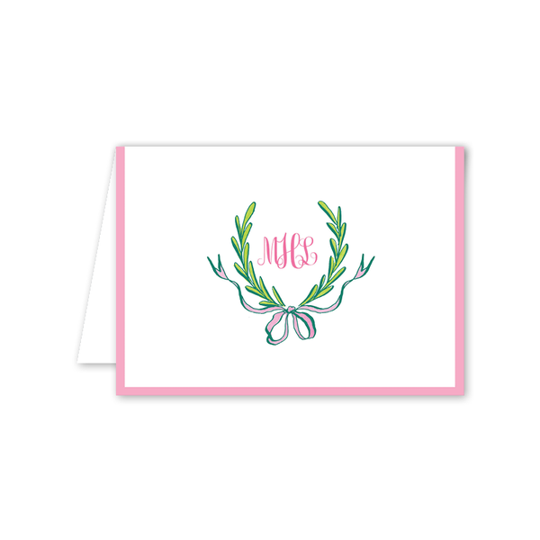 Ribbons and Garland Pink Folded Notecard