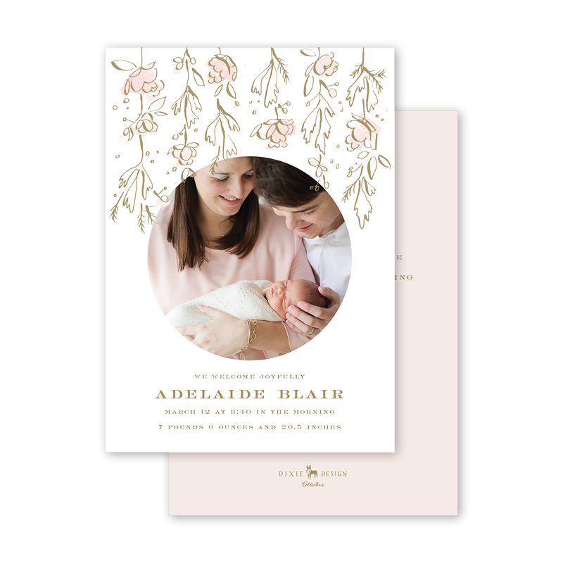 Camellias Blush Birth Announcement