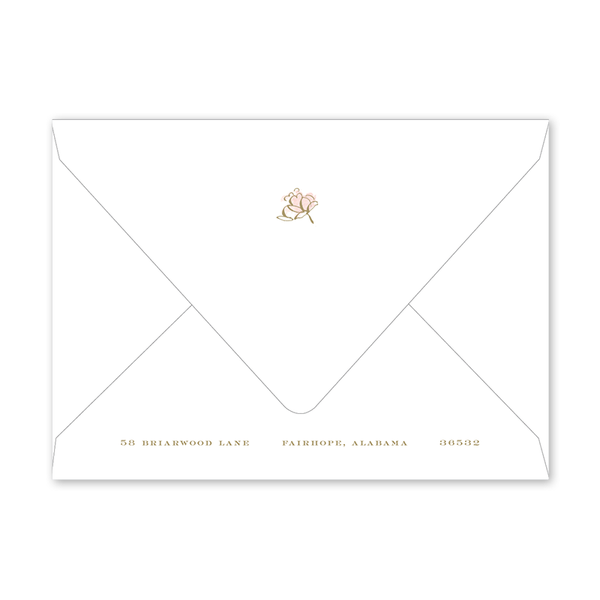 Camellias Blush Birth Announcement Envelopes