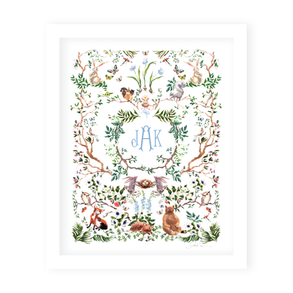 Woodland Blue Monogram Art Print