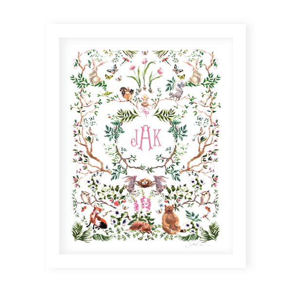 Woodland Pink Monogram Art Print