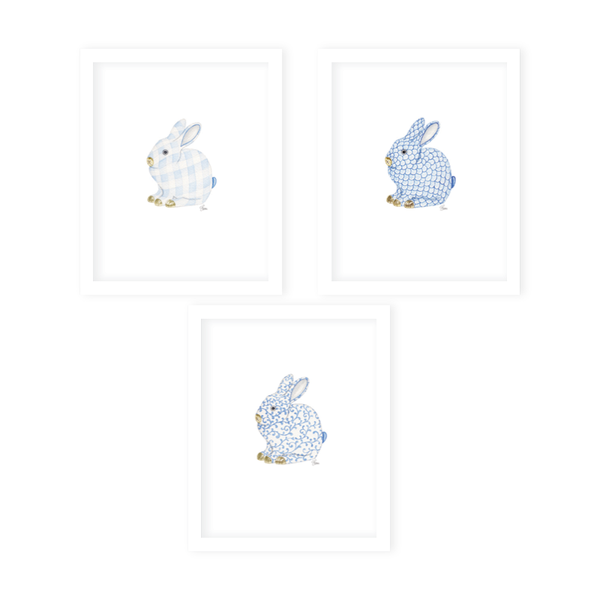 Porcelain Bunny Art Print Set