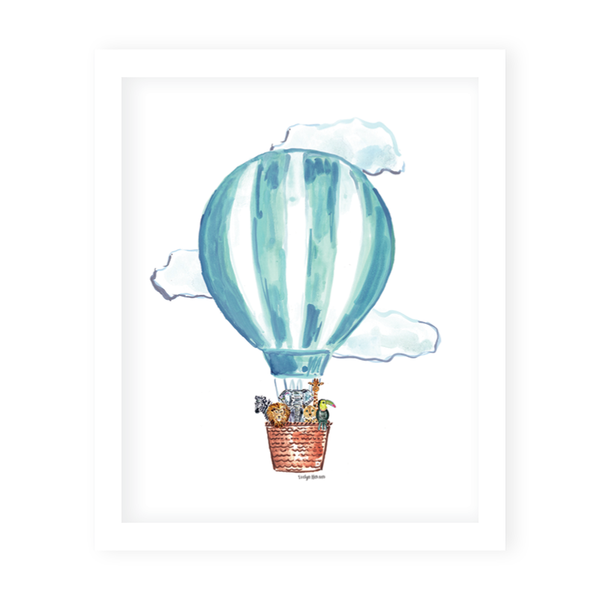 Hot Air Balloon Blue Art Print