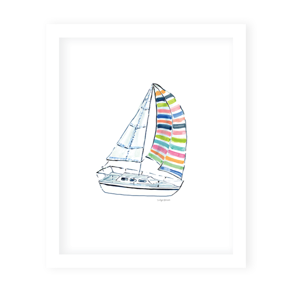 Striped Sailboat Art Print