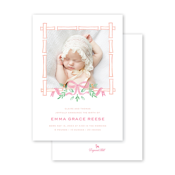 Bamboo Bloom Coral Birth Announcement