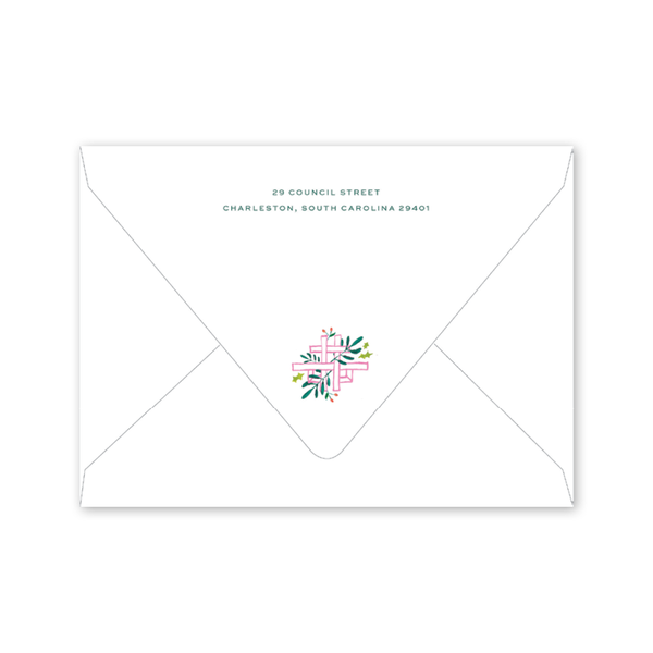 Bamboo and Holly Crest Invitation Envelopes