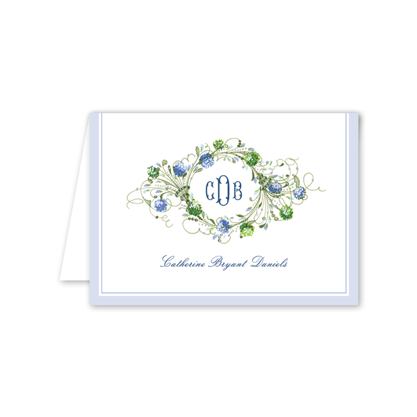 Hydrangea Wreath Folded Notecard