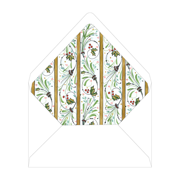 Flourishes and Holly Holiday Folded Liner