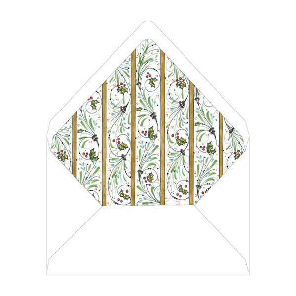 Flourishes and Holly Invitation Liner