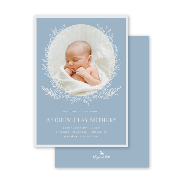 Rosemary Wreath Blue Birth Announcement
