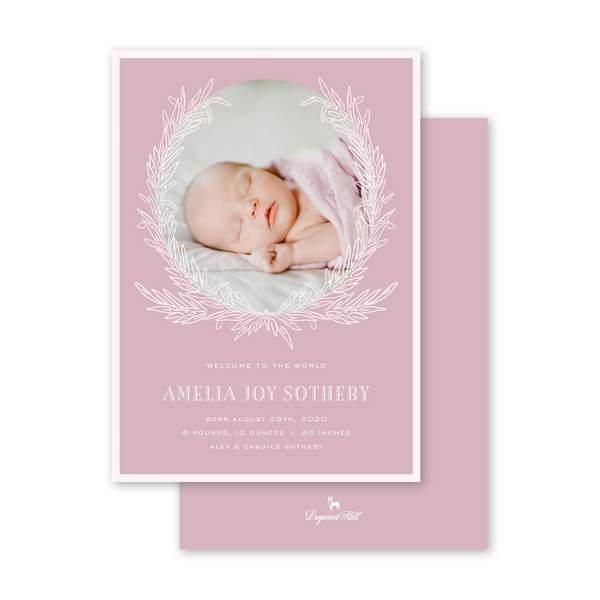 Rosemary Wreath Pink Birth Announcement