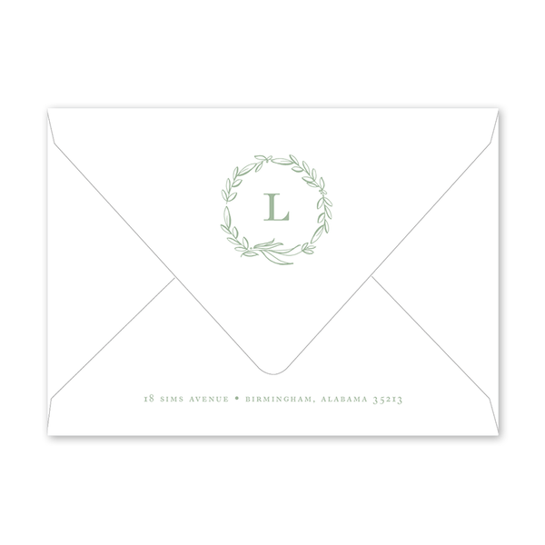 Floral Sage Portrait Birth Announcement Envelopes
