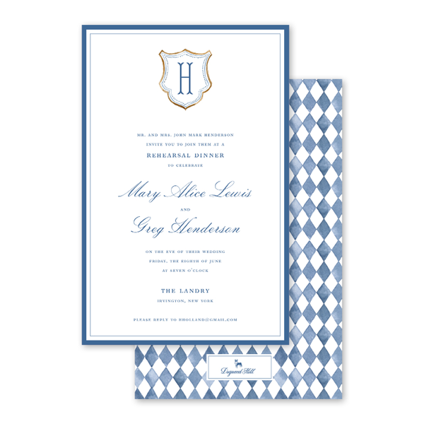 Blue Topiary Crest Dinner/Party