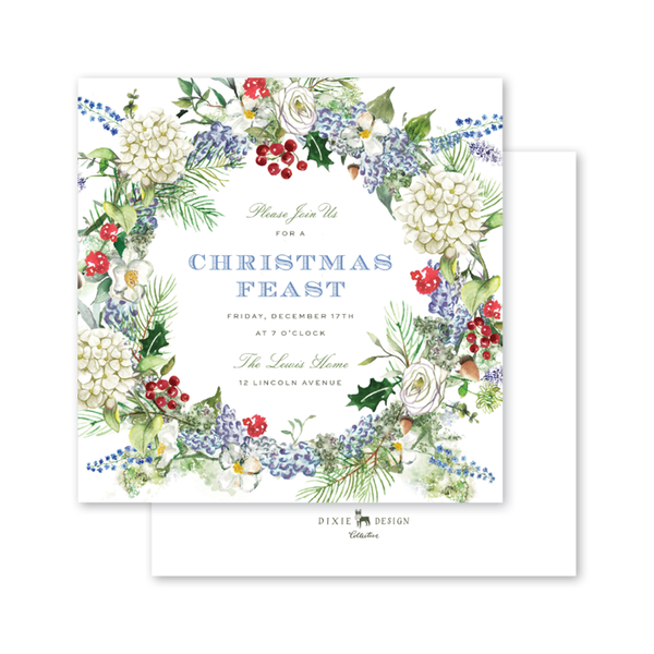 Blue Hydrangea Christmas Square Invitation