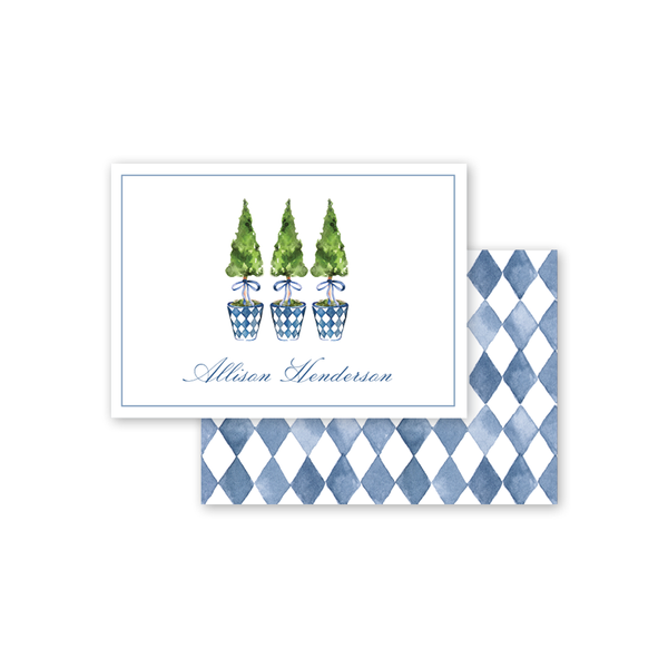 Blue Topiary Crest Calling Card