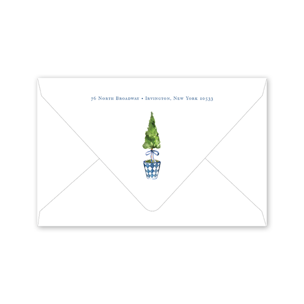 Blue Topiary Crest Dinner/Party Envelopes
