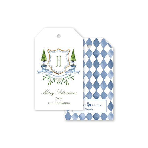Blue Topiary Crest Gift Tags