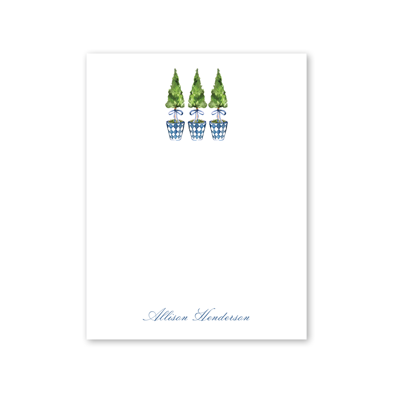 Blue Topiary Crest Notepad