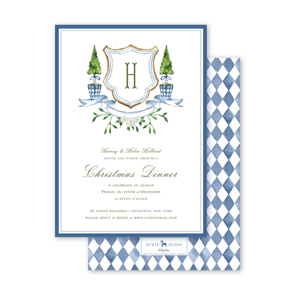 Blue Topiary Invitation