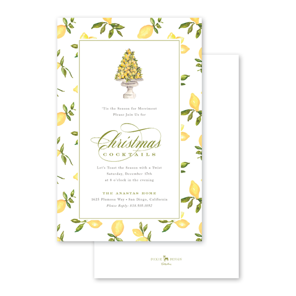Christmas Lemon Border Invitation