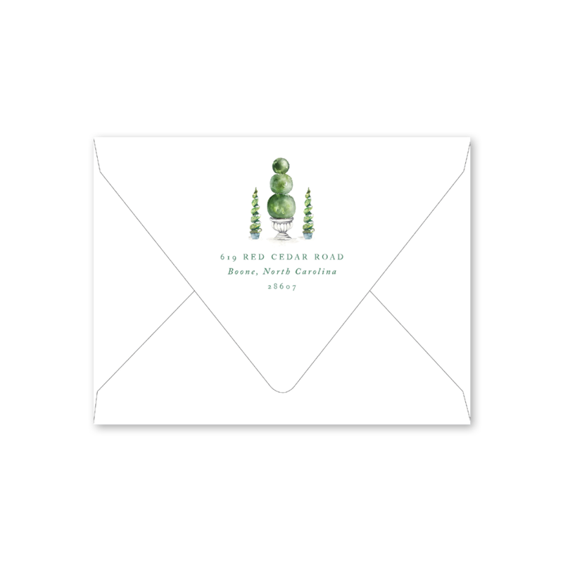 Merry Green Topiary Folded Envelopes
