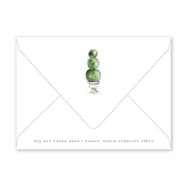 Merry Green Topiary Invitation Envelopes