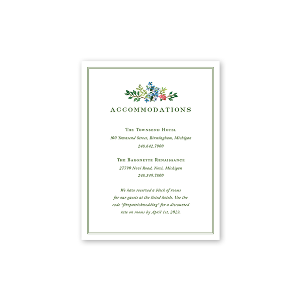 Jardin Accommodations Card