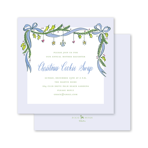 Angel Garland Blue Invitation