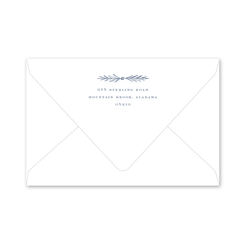 Provencial Garland Blue Portrait Envelopes