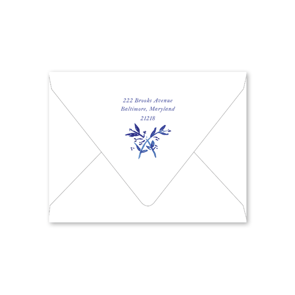 Blue Toile Crest Folded Envelopes
