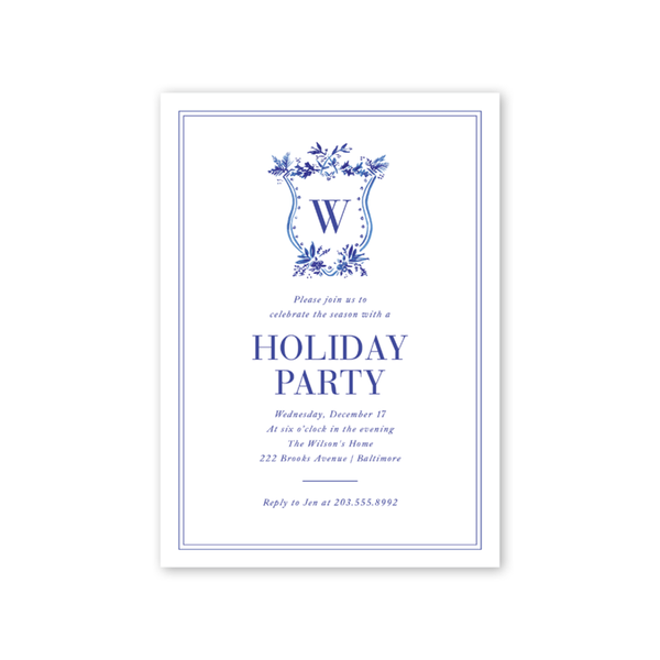 Blue Toile Crest Invitation