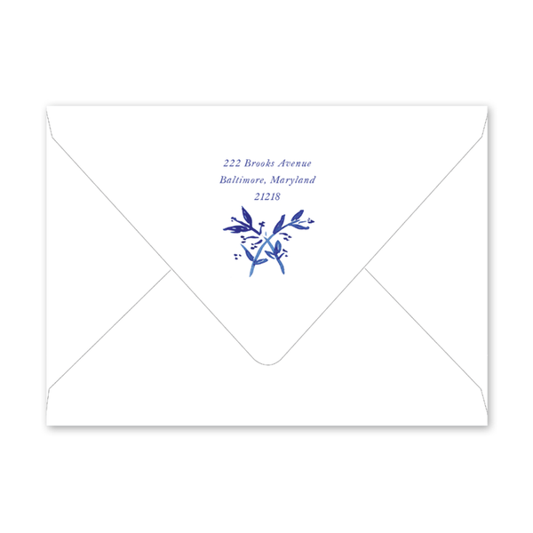 Blue Toile Crest Invitation Envelopes