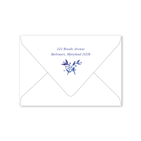 Blue Toile Crest Notecard Envelopes