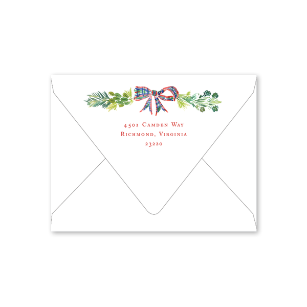 Plaid Wreath Folded Envelopes